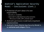 android s application security model conclusions cont