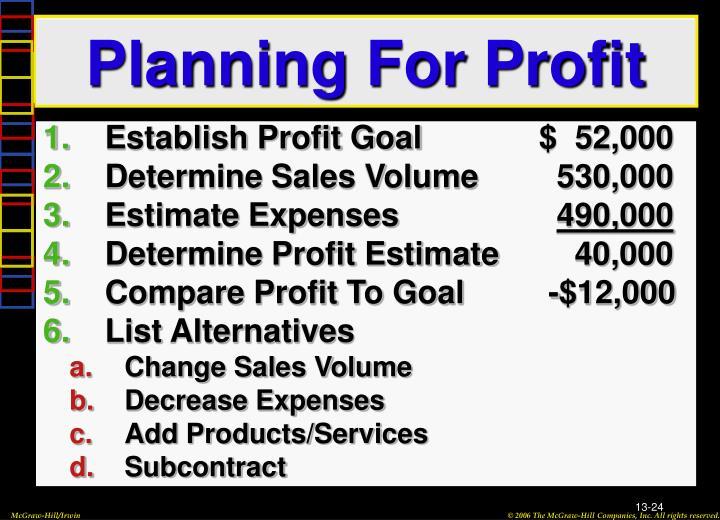 Planning For Profit