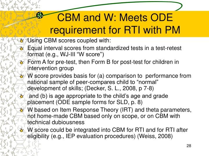 CBM and W: Meets ODE requirement for RTI with PM