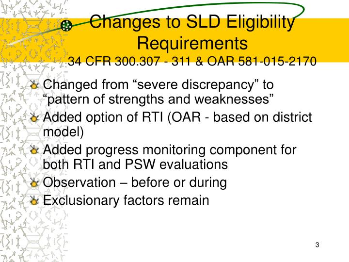 Changes to sld eligibility requirements 34 cfr 300 307 311 oar 581 015 2170