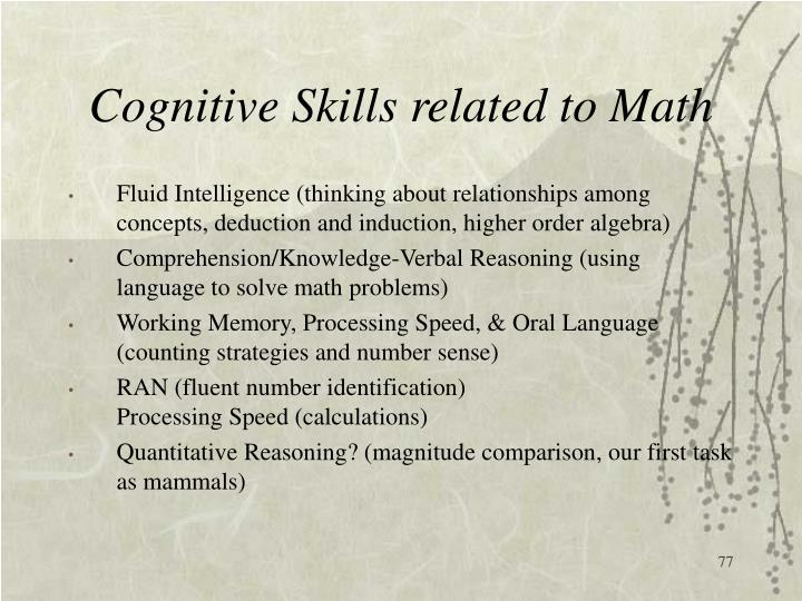 Cognitive Skills related to Math