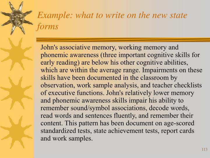 Example: what to write on the new state forms