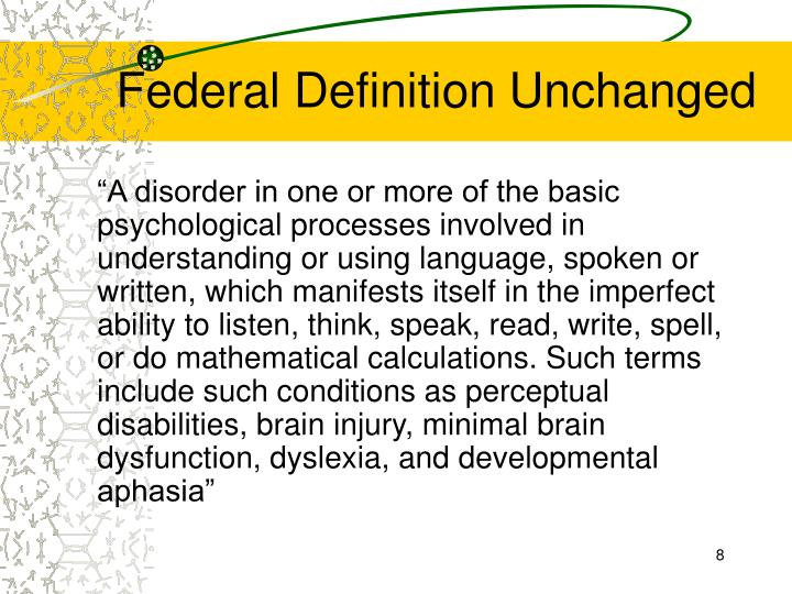 Federal Definition Unchanged