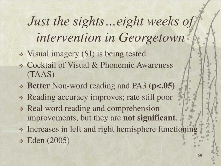 Just the sights…eight weeks of intervention in Georgetown