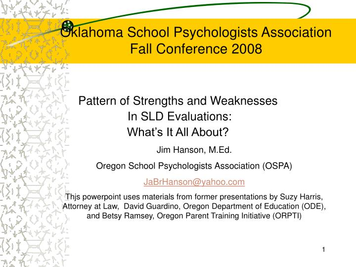 oklahoma school psychologists association fall conference 2008 n.