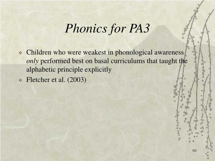 Phonics for PA3