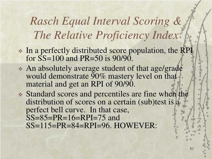 Rasch Equal Interval Scoring &