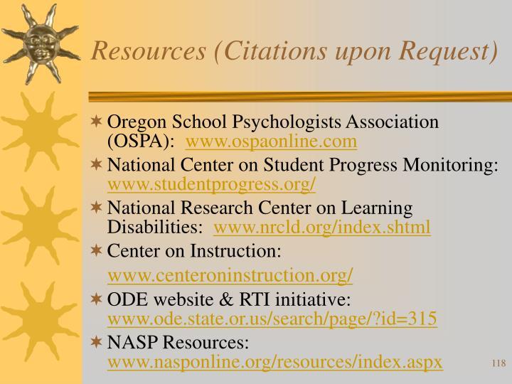 Resources (Citations upon Request)