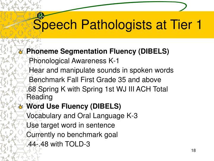 Speech Pathologists at Tier 1