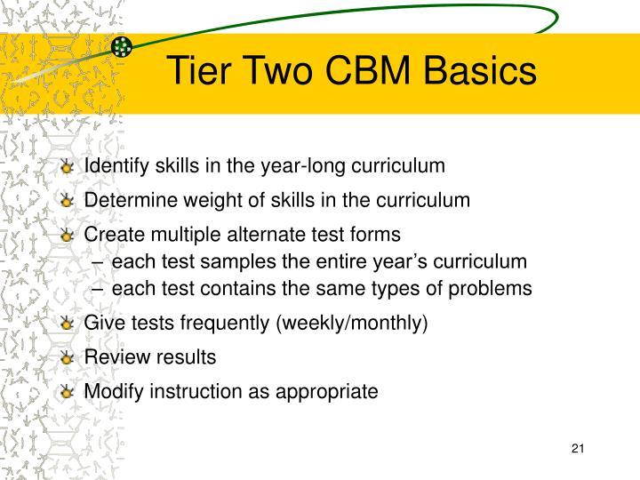 Tier Two CBM Basics