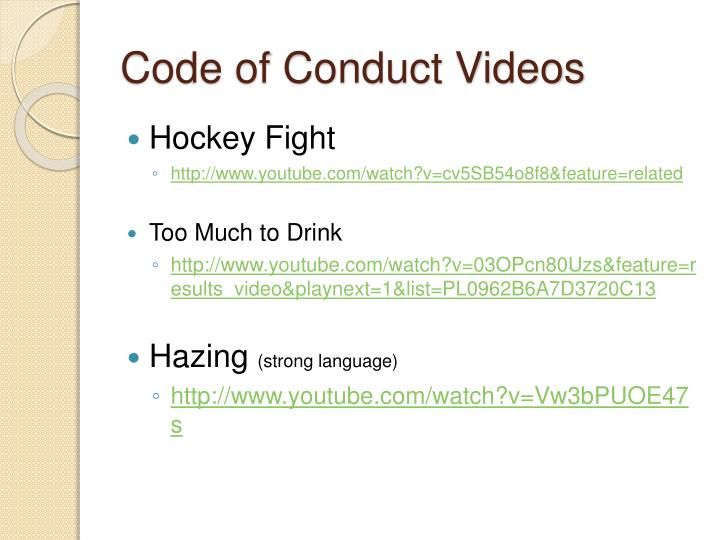 Code of Conduct Videos