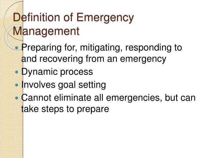 Definition of Emergency Management