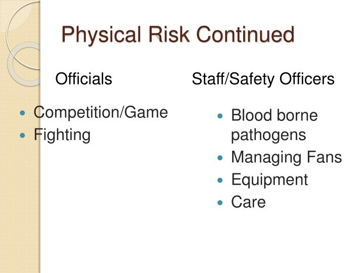 Physical Risk Continued