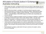 articulation of social justice in contemporary australian schooling