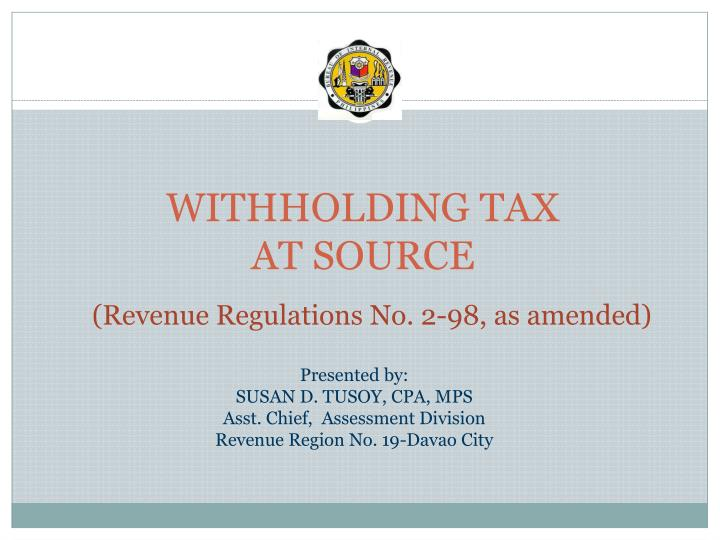 withholding tax at source n.