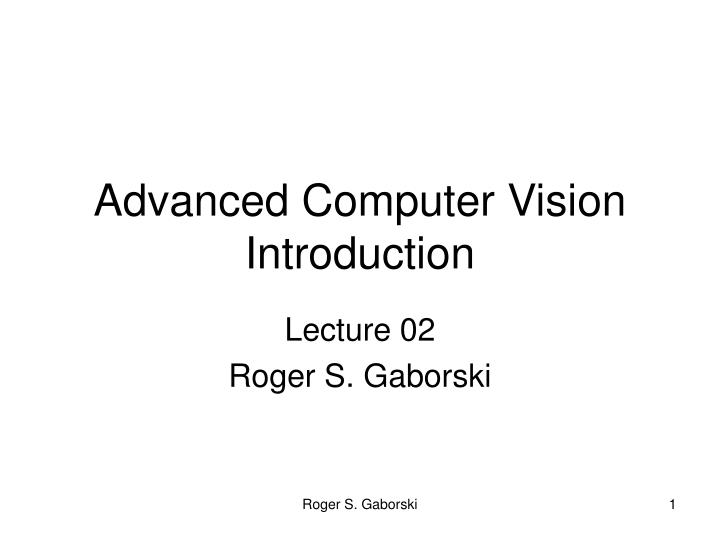 advanced computer vision introduction n.