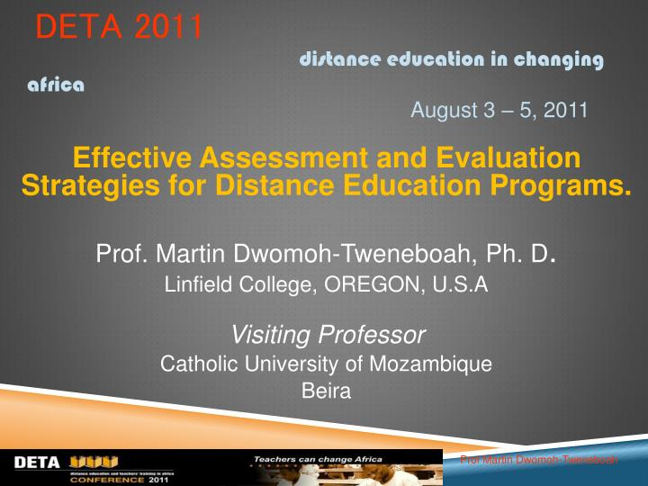 deta 2011 distance education in changing africa august 3 5 2011 n.