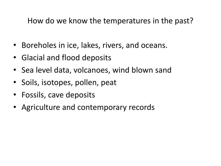 How do we know the temperatures in the past?