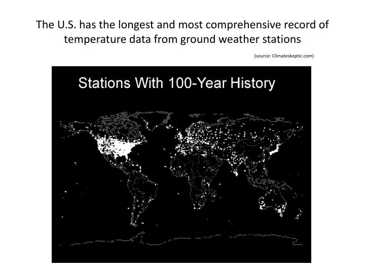 The U.S. has the longest and most comprehensive record of temperature data from ground weather stations