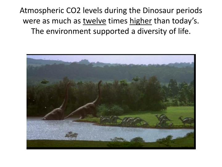 Atmospheric CO2 levels during the Dinosaur periods were as much as