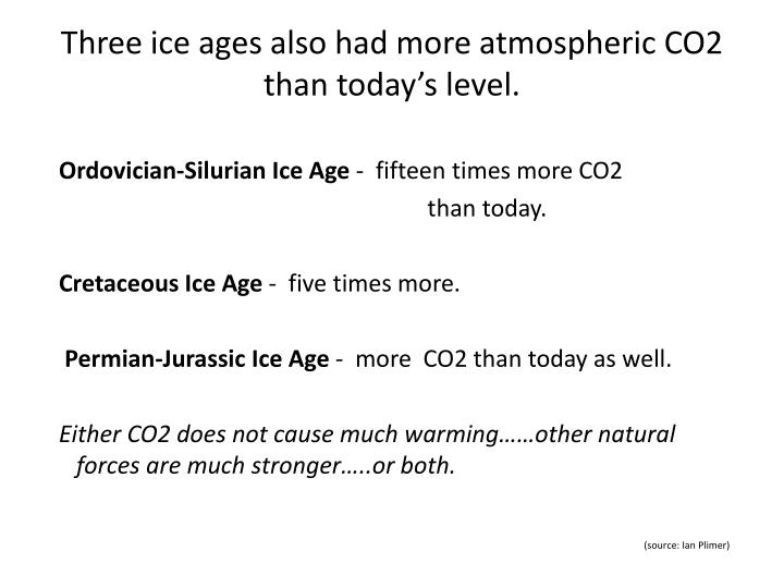 Three ice ages also had more atmospheric CO2 than today's level.