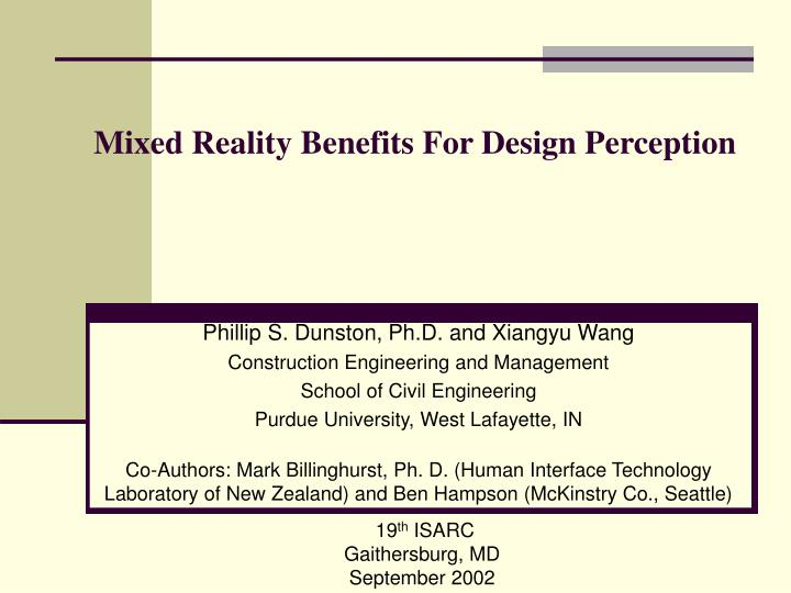mixed reality benefits for design perception