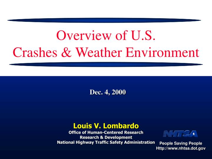 overview of u s crashes weather environment n.