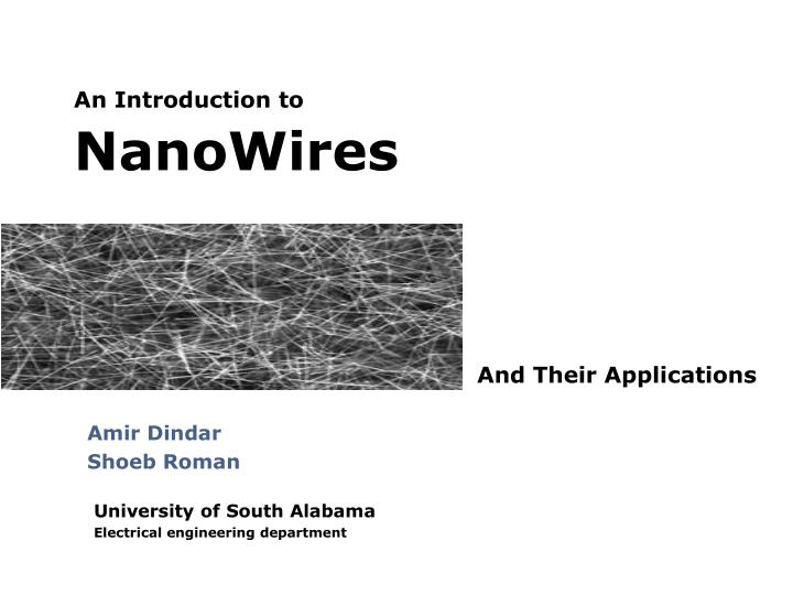 an introduction to nanowires n.