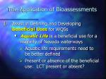 the application of bioassessments