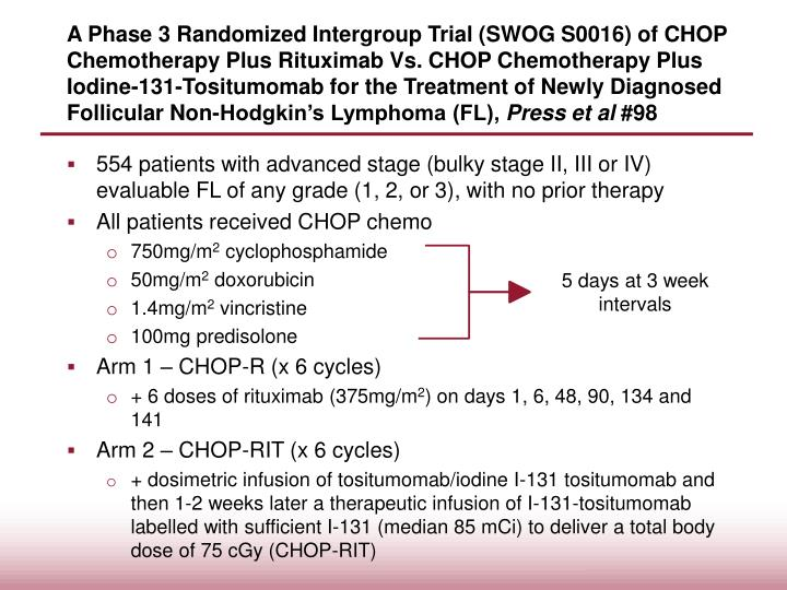 A Phase 3 Randomized Intergroup Trial (SWOG S0016) of CHOP Chemotherapy Plus Rituximab Vs. CHOP Chemotherapy Plus Iodine-131-Tositumomab for the Treatment of Newly Diagnosed Follicular Non-Hodgkin's Lymphoma (FL),