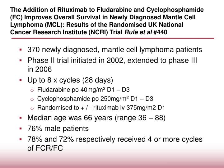 The Addition of Rituximab to Fludarabine and Cyclophosphamide (FC) Improves Overall Survival in Newly Diagnosed Mantle Cell Lymphoma (MCL): Results of the Randomised UK National Cancer Research Institute (NCRI) Trial