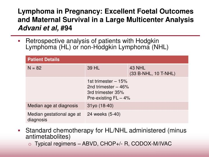 Lymphoma in Pregnancy: Excellent Foetal Outcomes and Maternal Survival in a Large Multicenter Analy...