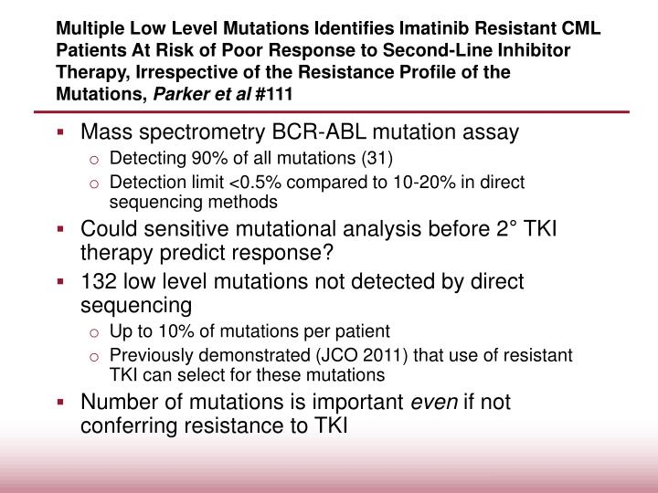 Multiple Low Level Mutations Identifies Imatinib Resistant CML Patients At Risk of Poor Response to Second-Line Inhibitor Therapy, Irrespective of the Resistance Profile of the Mutations,