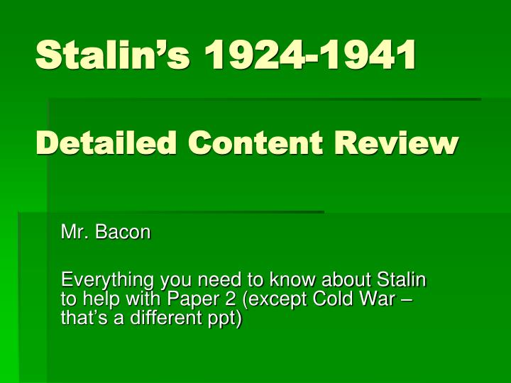 Stalin s 1924 1941 detailed content review