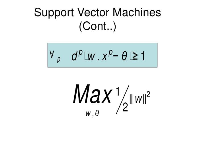 support vector machines cont n.