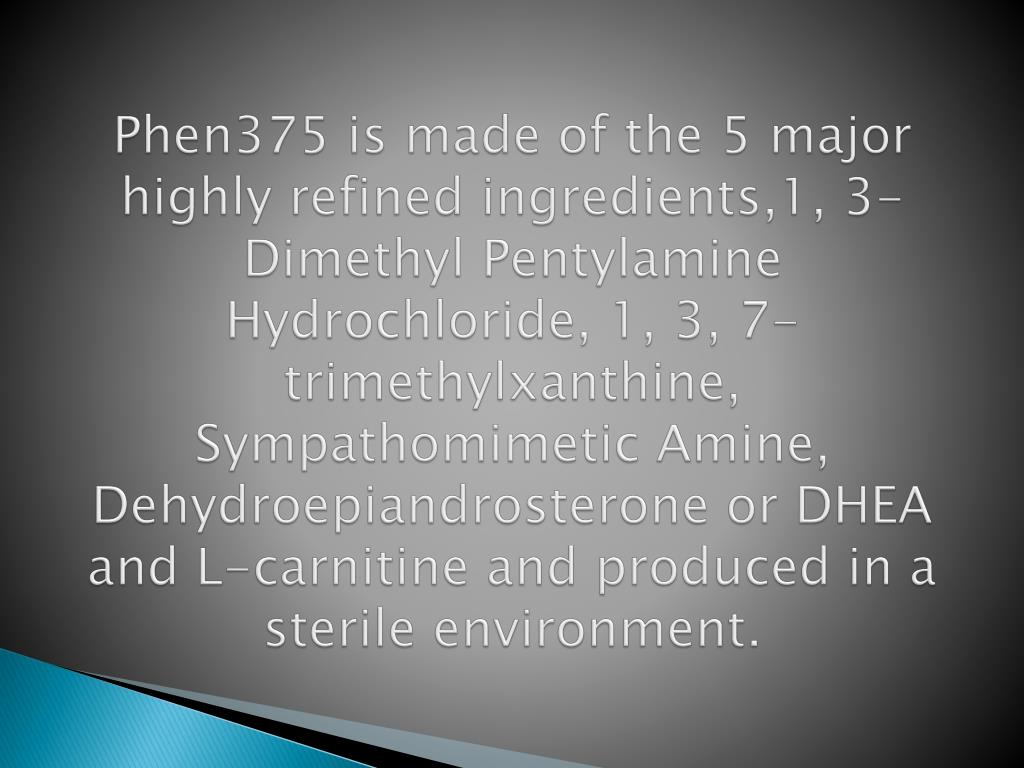 Phen375 is made of the 5 major highly refined ingredients,1, 3-