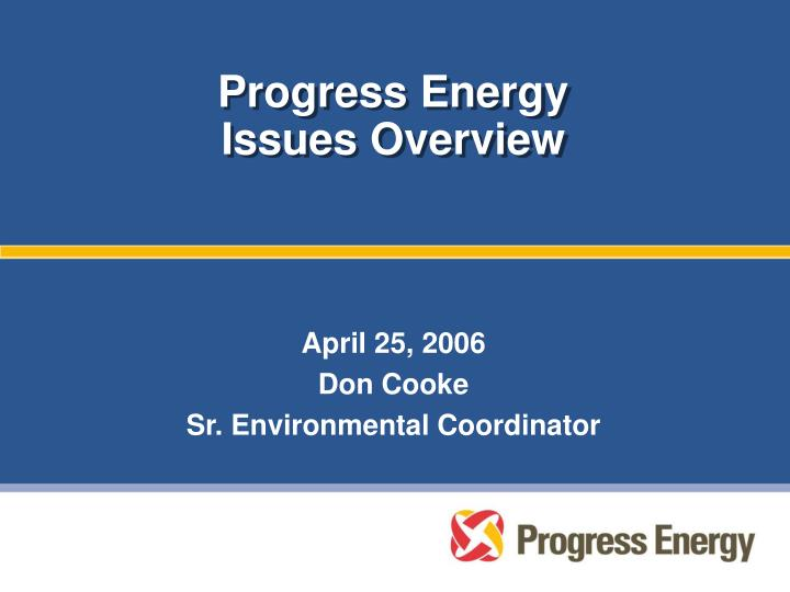 progress energy issues overview n.