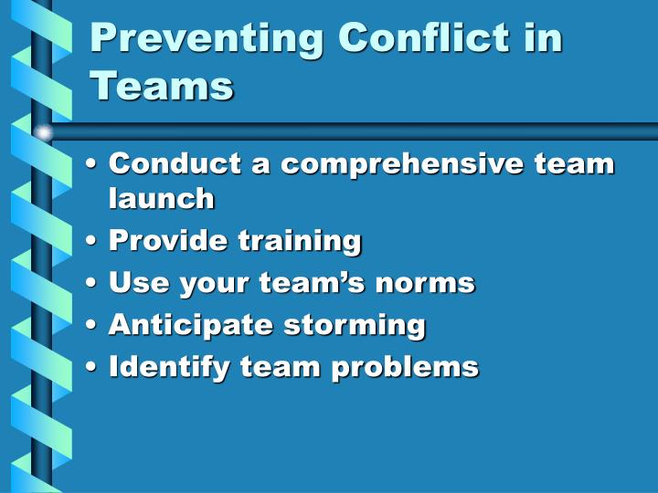 Preventing Conflict in Teams