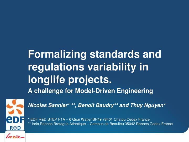 formalizing standards and regulations variability in longlife projects n.