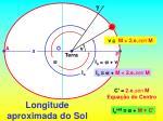 longitude aproximada do sol
