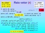 raio vetor r