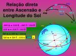 rela o direta entre ascens o e longitude do sol