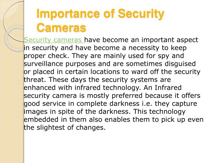 Importance of security cameras