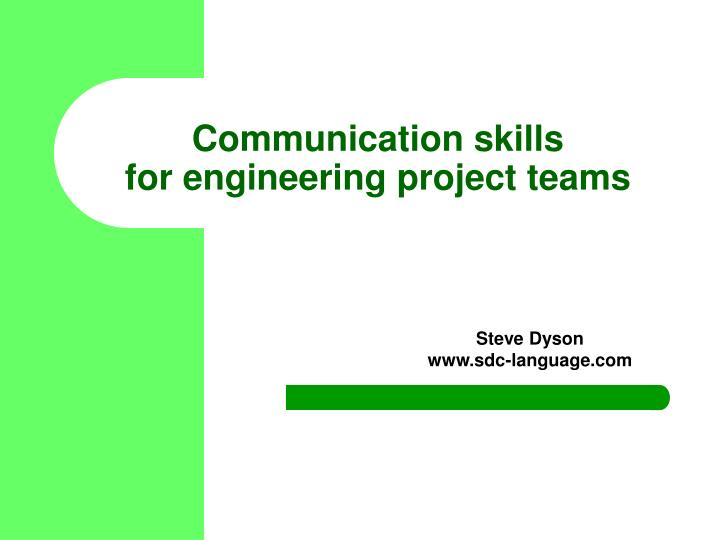 communication skills for engineering project teams n.