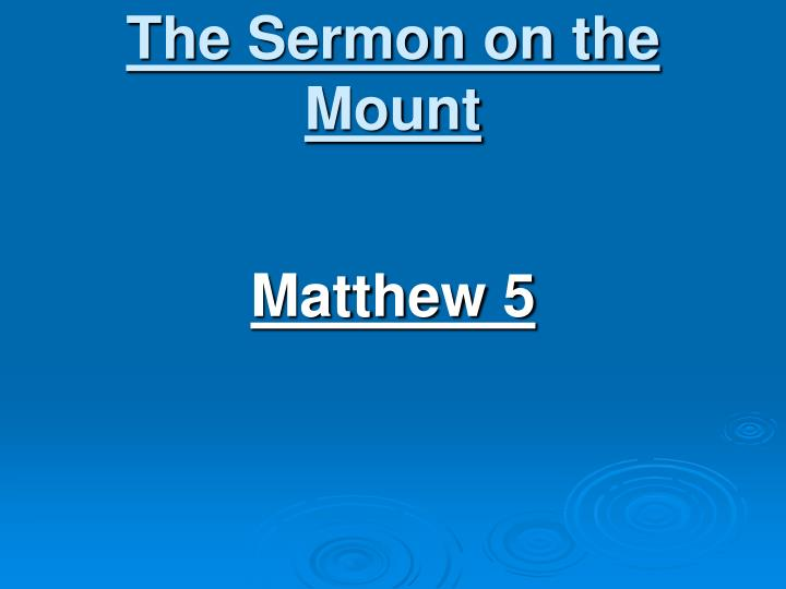 the sermon on the mount n.