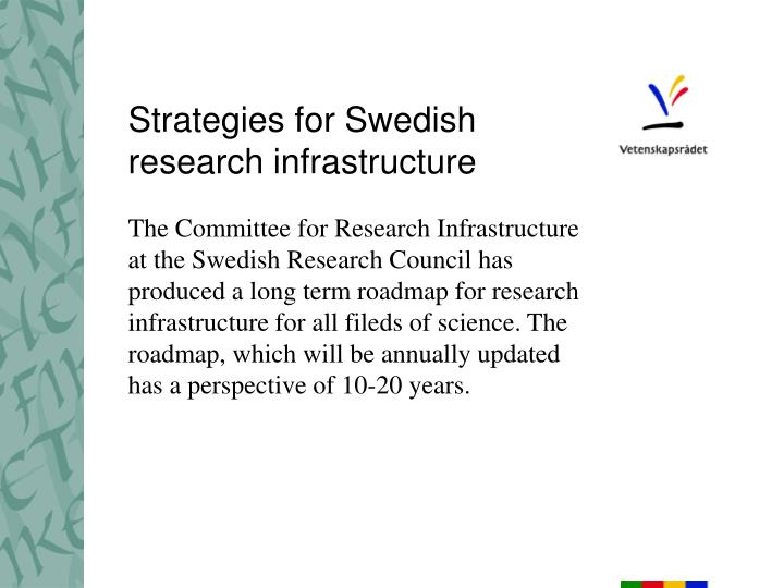 strategies for swedish research infrastructure n.