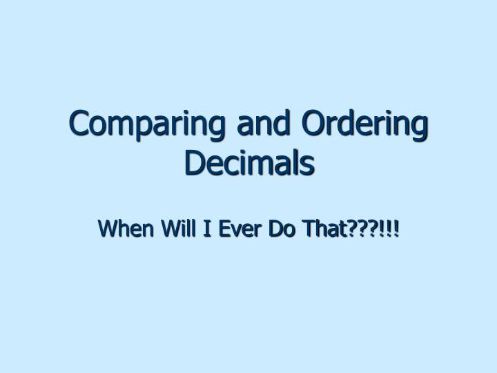 comparing and ordering decimals n.