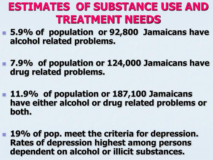 ESTIMATES  OF SUBSTANCE USE AND TREATMENT NEEDS