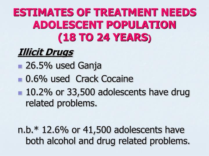 ESTIMATES OF TREATMENT NEEDS ADOLESCENT POPULATION