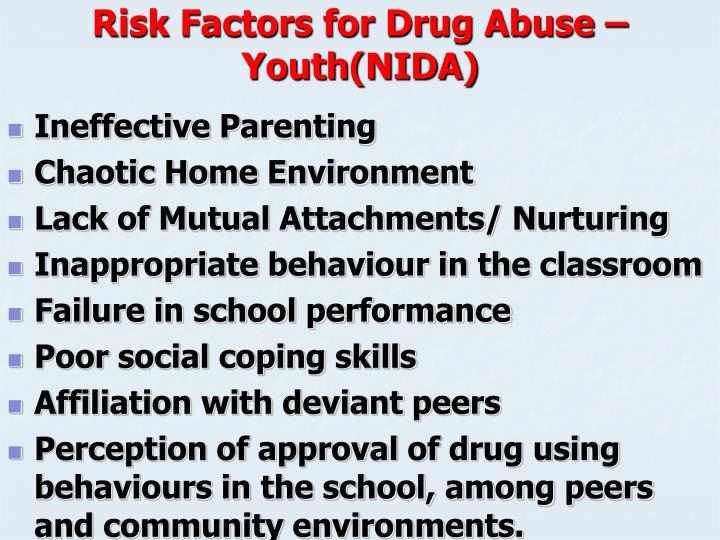 Risk Factors for Drug Abuse – Youth(NIDA)